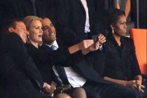 Helle Thorning-Schmidt, Cameron och Obama vid Mandelas minneshögtid